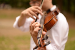 ヴァイオリンを演奏する・いちろーたの左手、写真