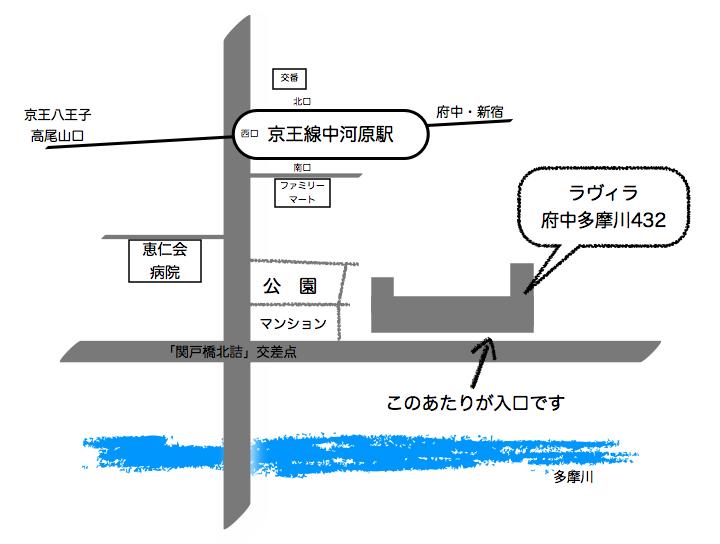 地図(京王線中河原駅から府中なかがわら教室までの略図)