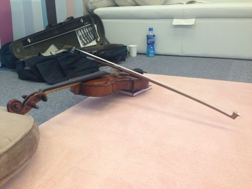 バイオリンの弦の上で、弓がバランスしている
